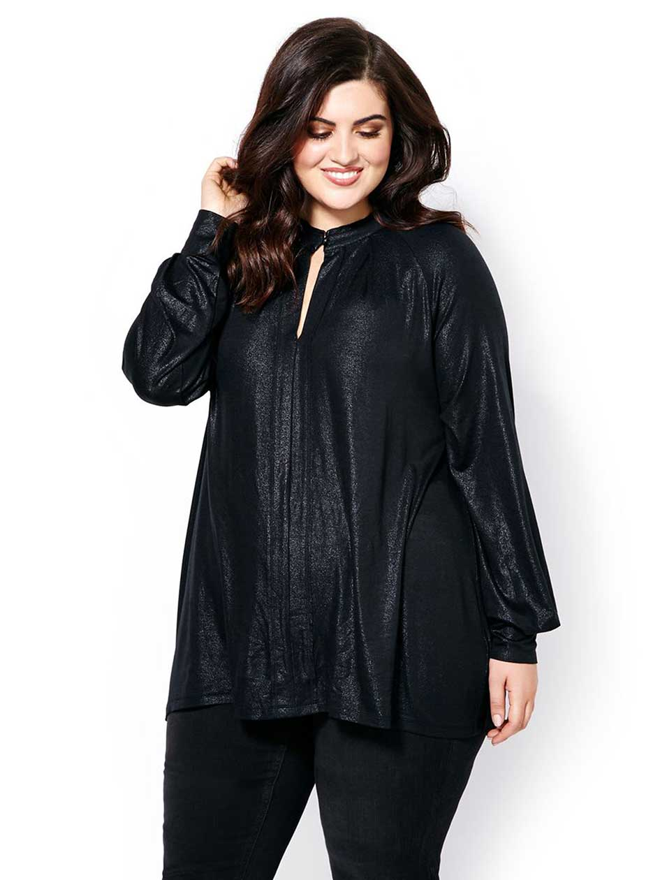 MELISSA McCARTHY Long Sleeve Foil Top