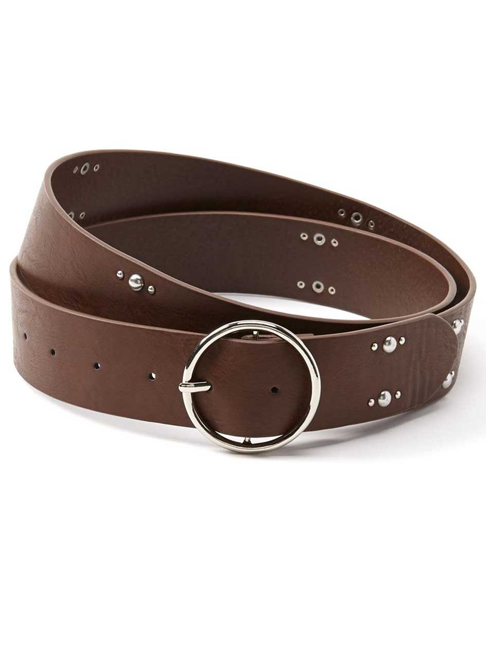 Studded Faux-Leather Belt