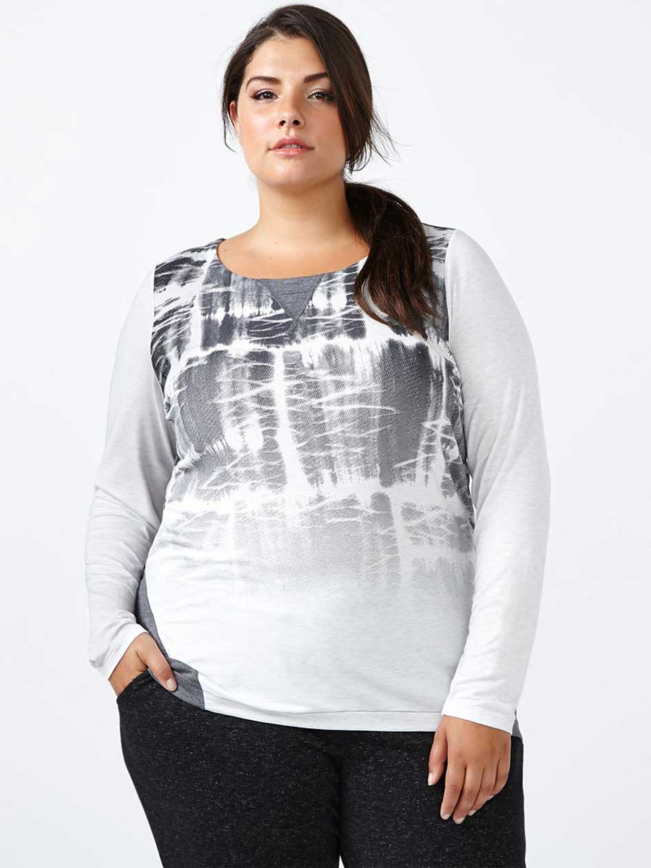 Athleisure - Plus-Size Printed Long Sleeve Top