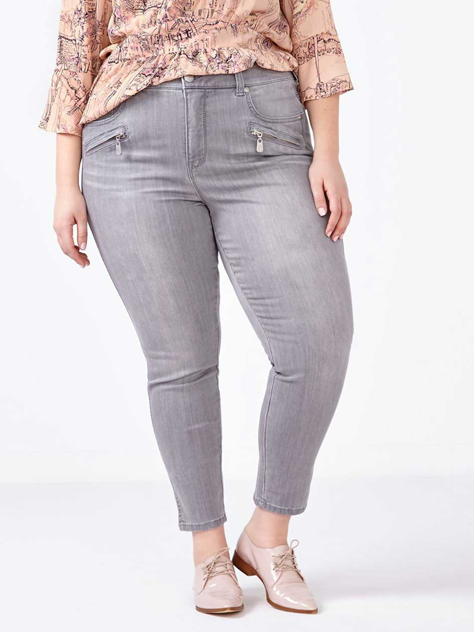 MELISSA McCARTHY Grey Pencil Jean with Zippers