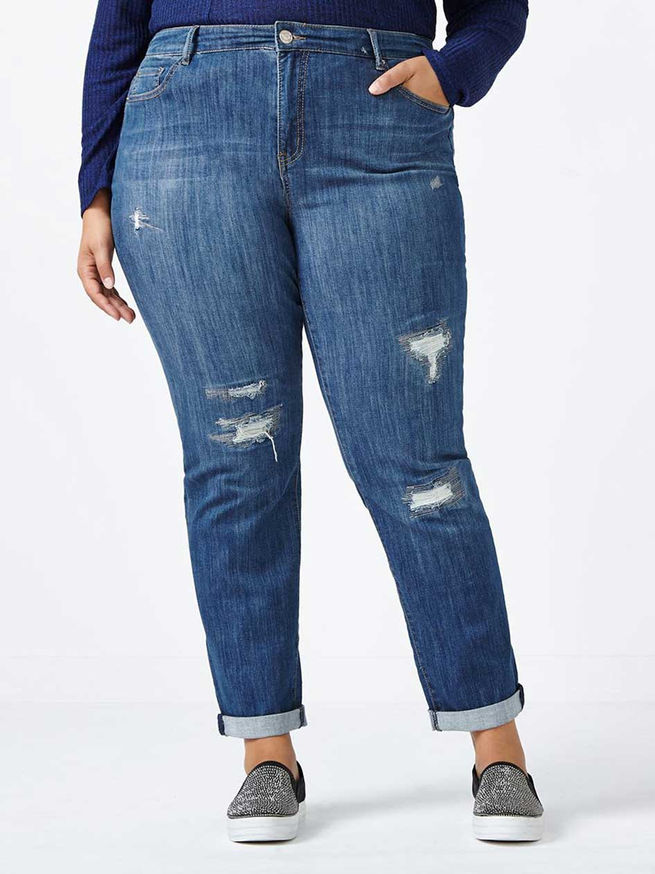 d/c JEANS - Slightly Curvy Fit Distressed Girlfriend Jean