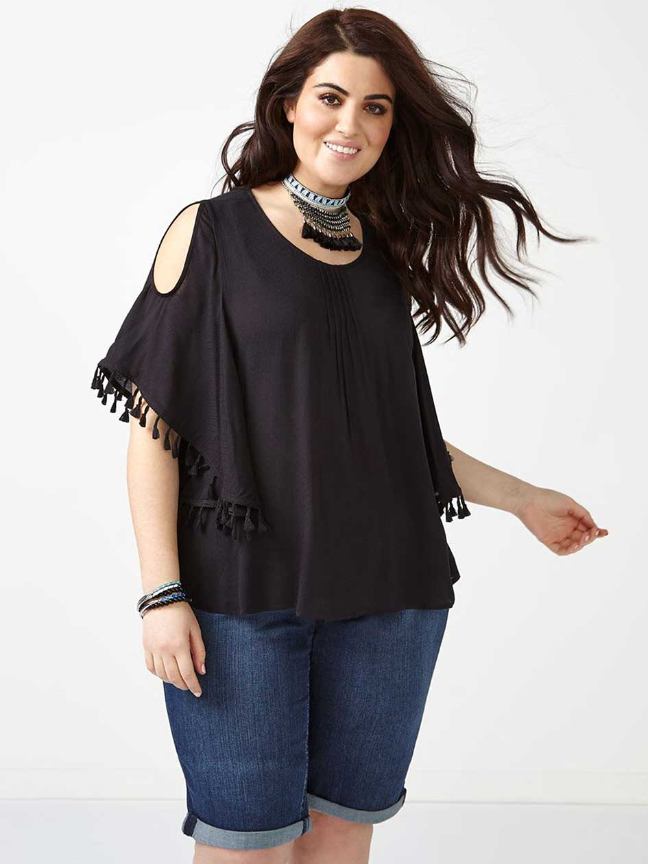 MELISSA McCARTHY Cold Shoulder Blouse with Tassels