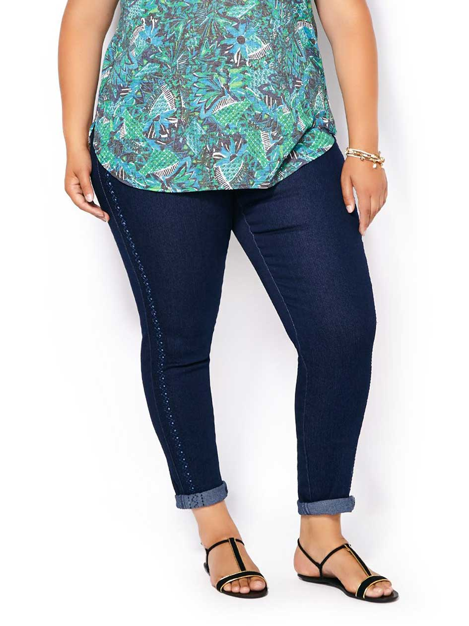d/c JEANS Slightly Curvy Fit Skinny Embroidered Jean