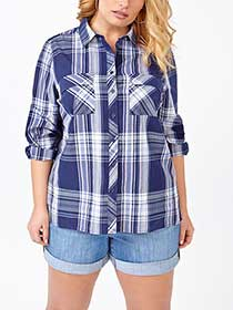 d/c JEANS Long Sleeve Cotton Plaid Shirt