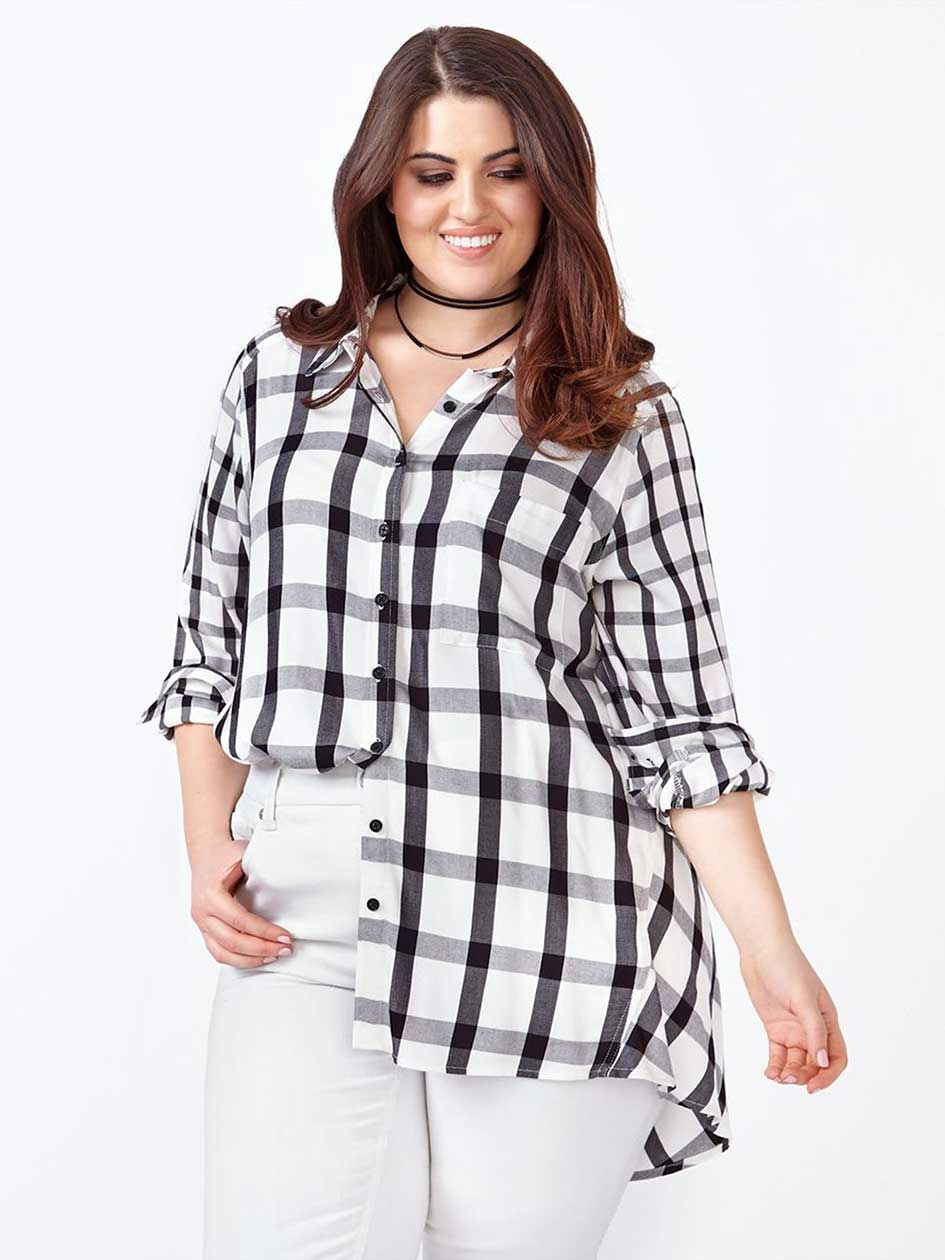 MELISSA McCARTHY Long Sleeve Plaid Blouse.Ecru / Black.3X