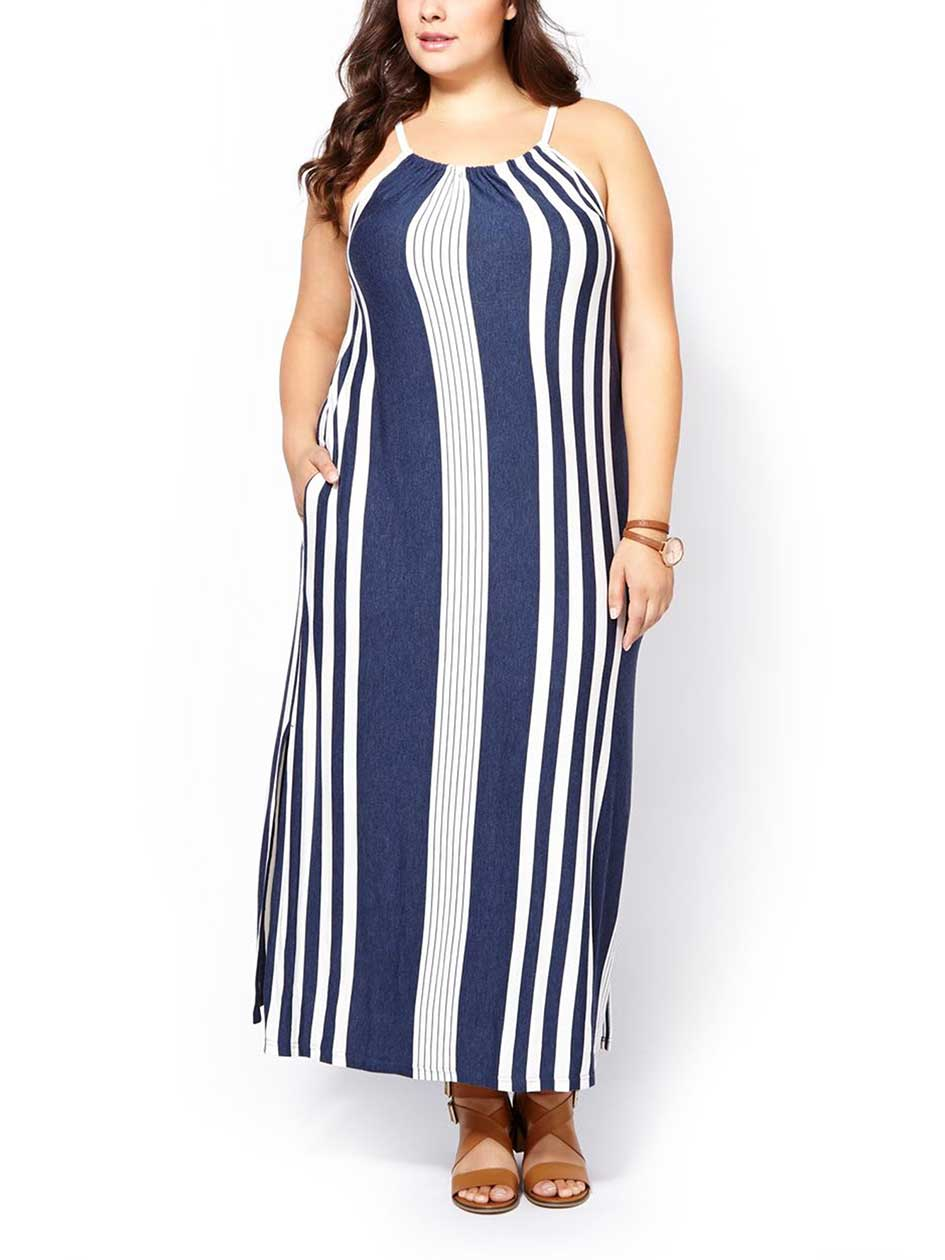 d/c JEANS Sleeveless Striped Maxi Dress