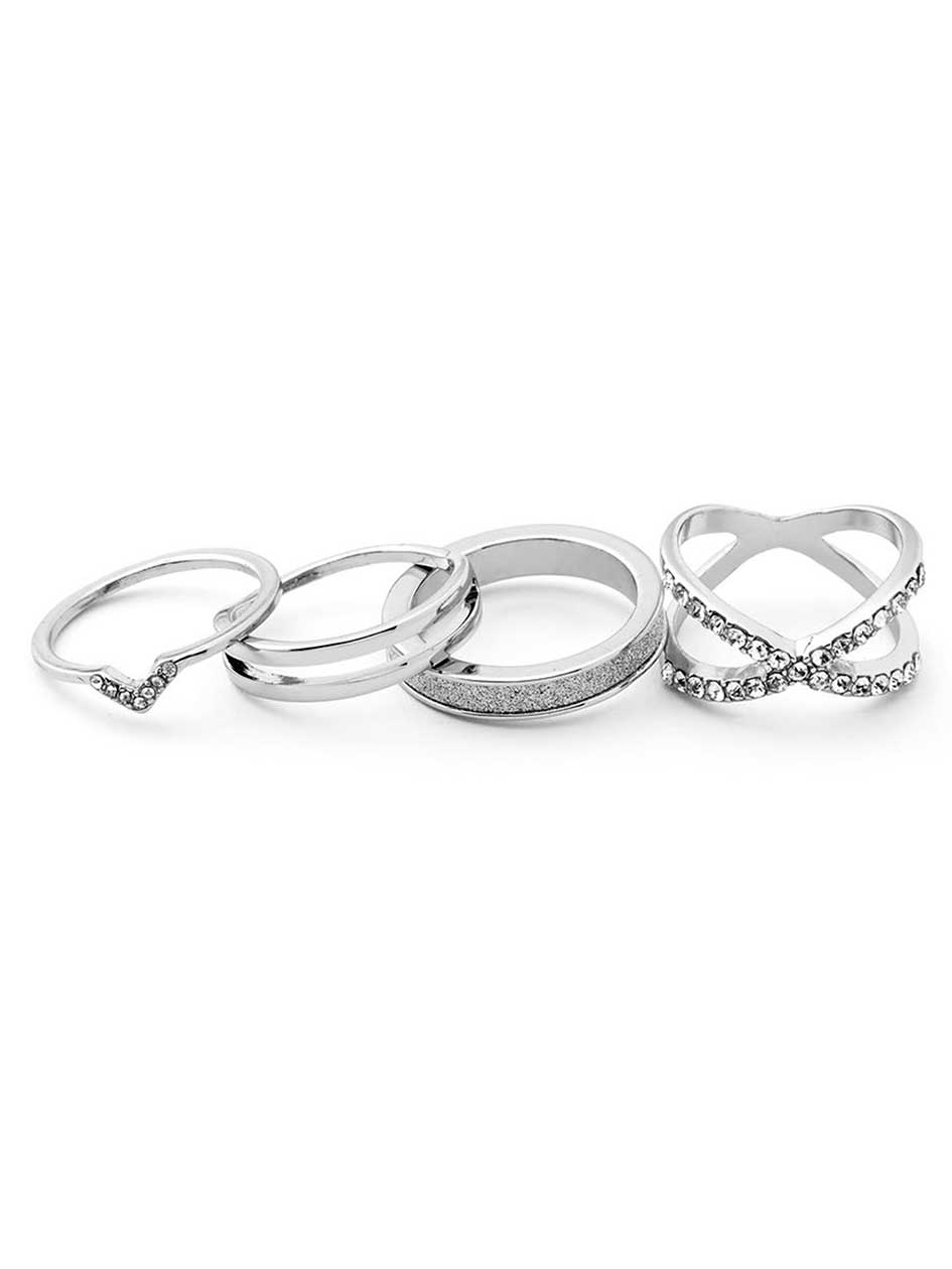 Set of 4 Sparkling Rings