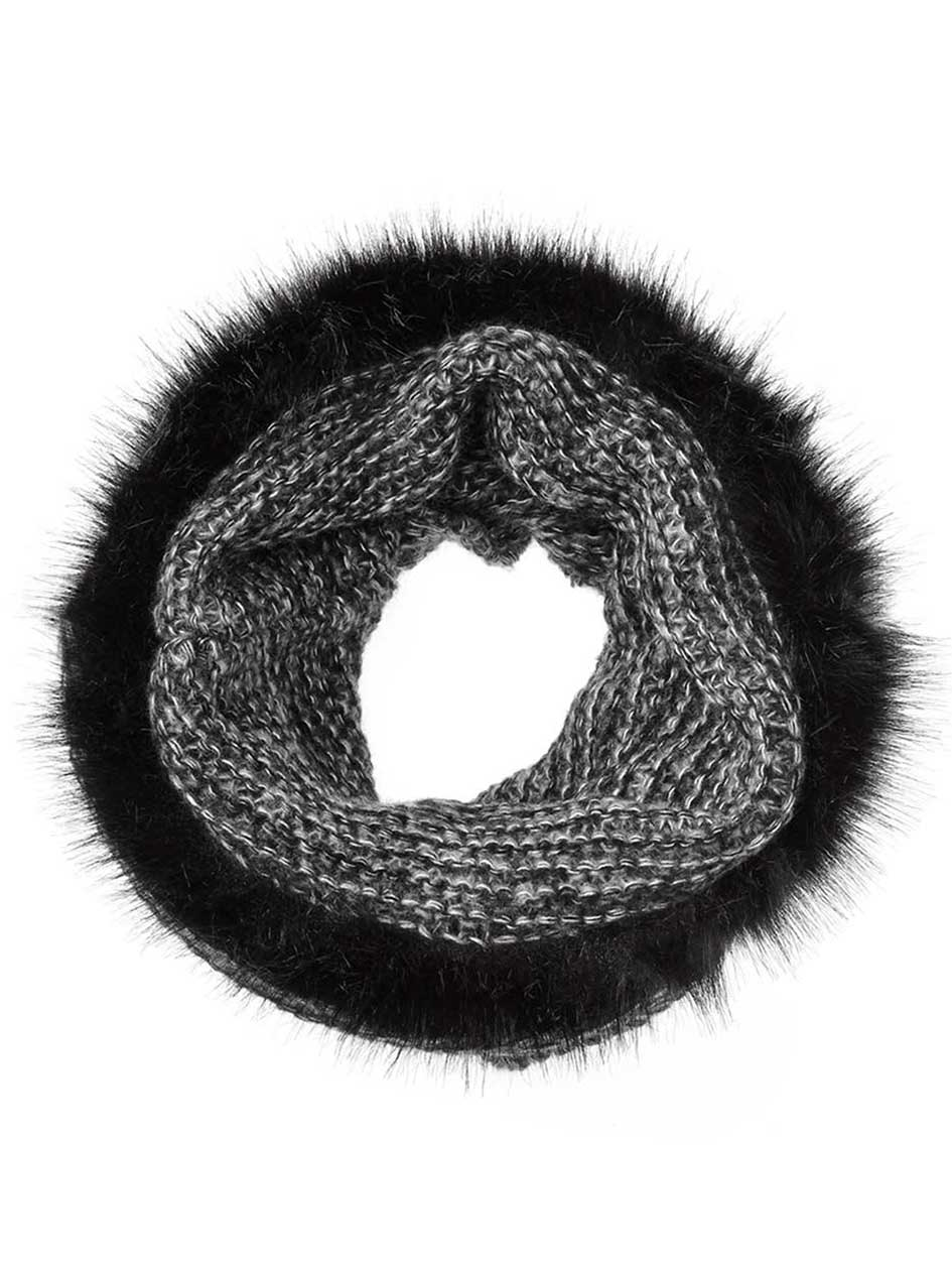 Knit Tube Scarf with Faux-Fur