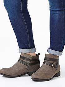 Wide-Width Flat Booties with Straps