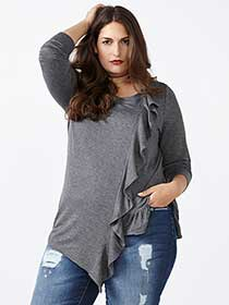 d/c JEANS Long Sleeve Asymmetric Top with Ruffle