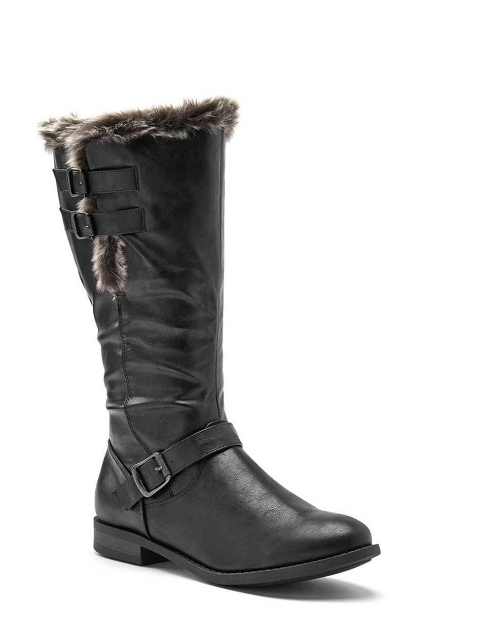 Faux-Leather Wide-Width Winter Boots