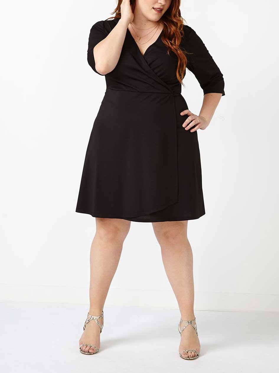 Fit and Flare Wrap Black Dress
