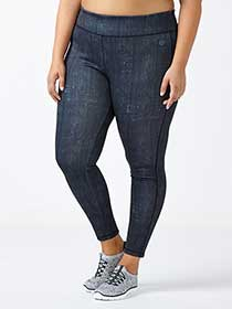 Athleisure - Plus-Size Denim Print Legging