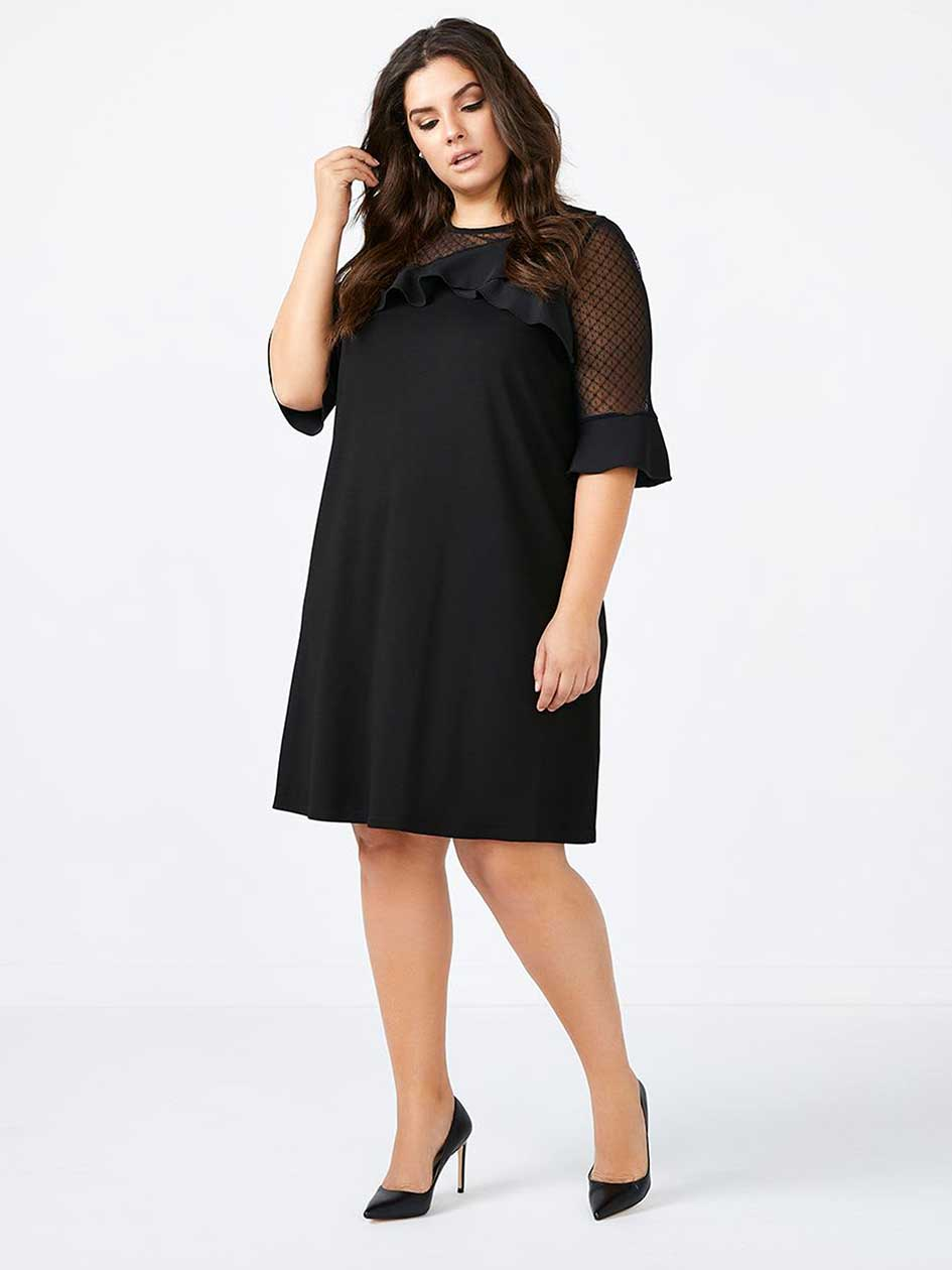 ONLINE ONLY - 3/4 Mesh Sleeve Black Dress