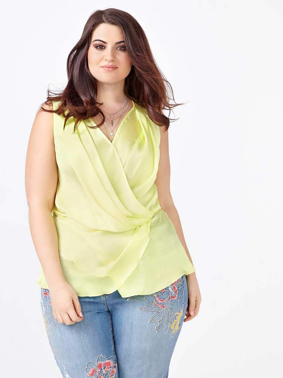 MELISSA McCARTHY Sleeveless Wrap Blouse