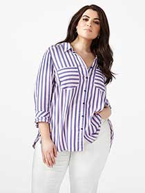 MELISSA McCARTHY Striped Button Up Shirt