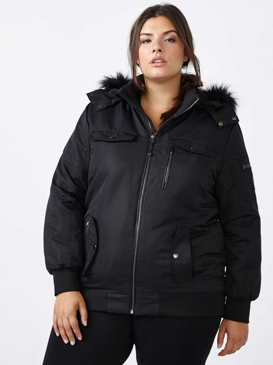 ActiveZone Bomber Ski Jacket with Faux-Fur Trim