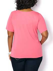 Shaped Fit Split Neckline T-Shirt