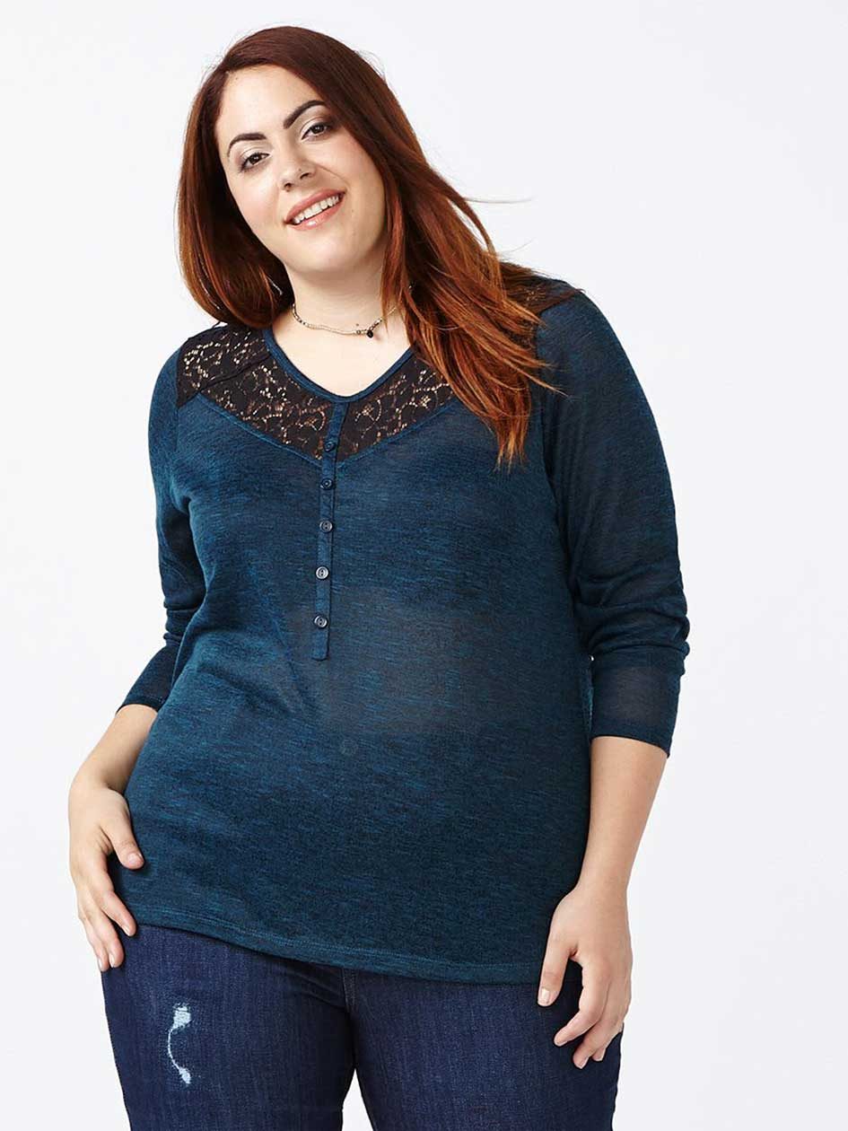 Curve Fit Long Sleeve T-Shirt with Lace