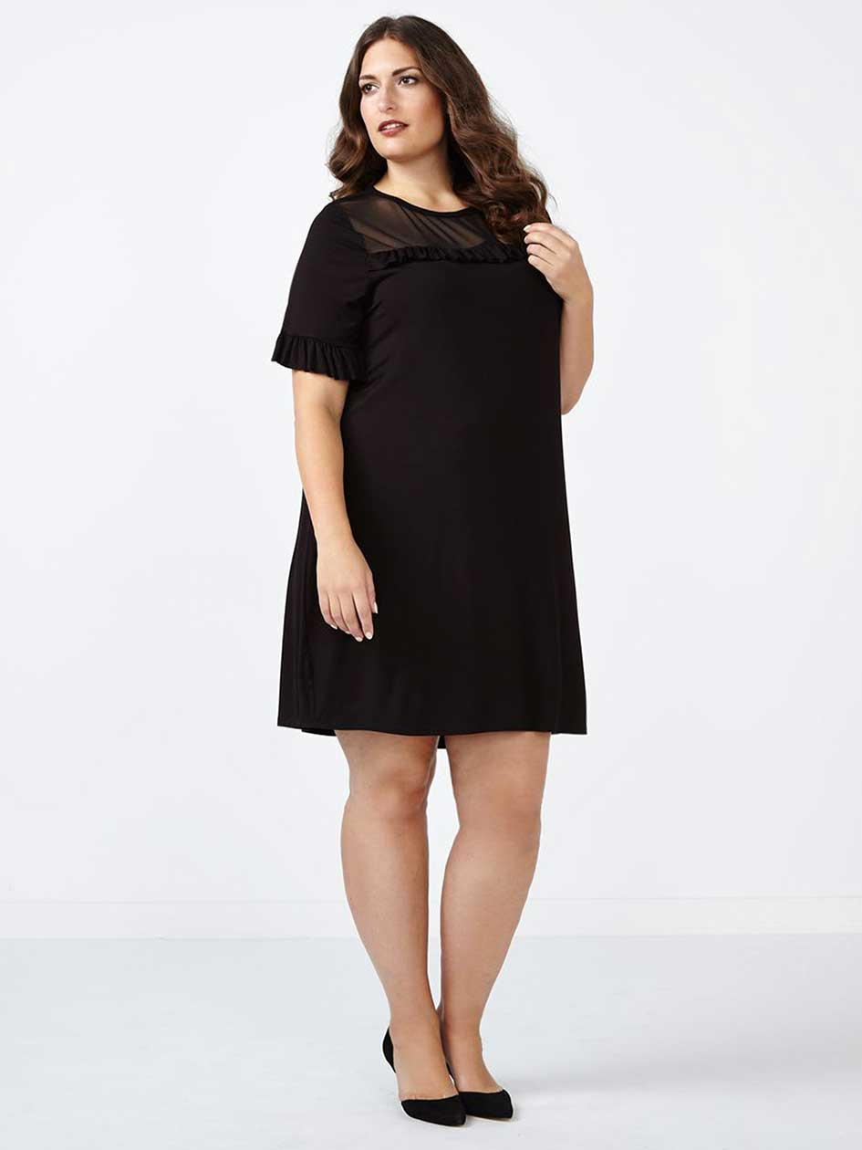 ONLINE ONLY - Short Ruffled Sleeve Black Dress