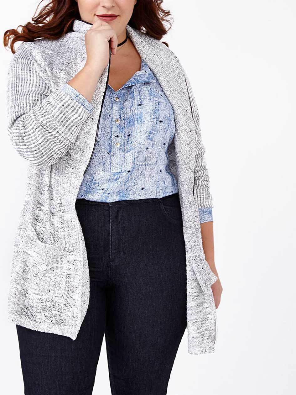 d/c JEANS Long Sleeve Cardigan with Faux-Leather