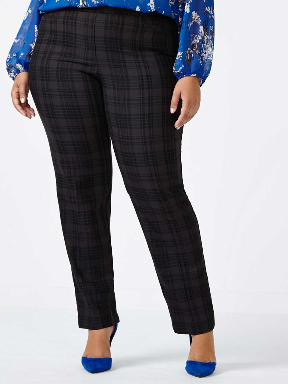 Petite Savvy Soft Touch Straight Leg Plaid Pant
