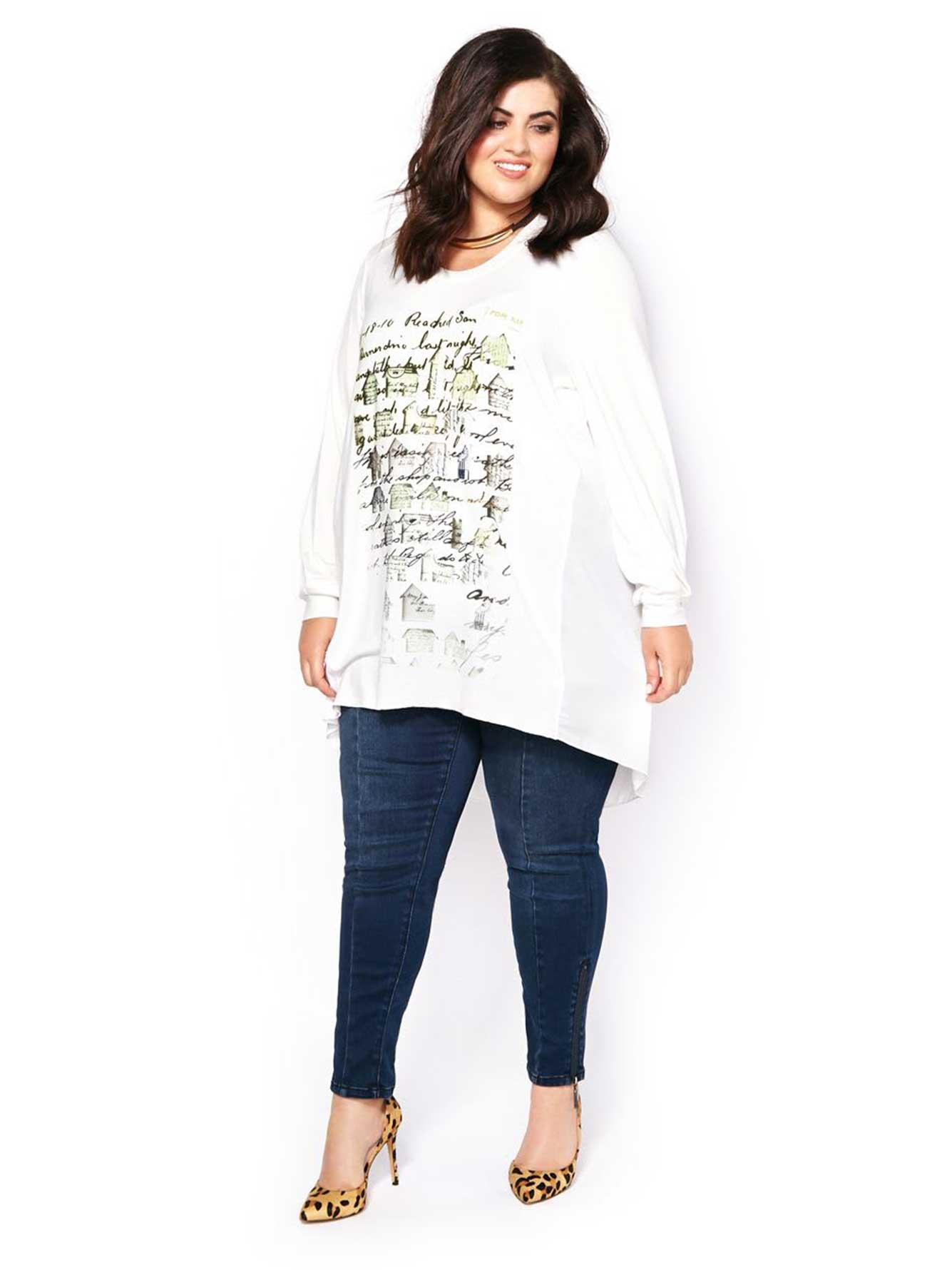 Melissa mccarthy long sleeve printed t shirt penningtons for Long sleeve t shirt printing