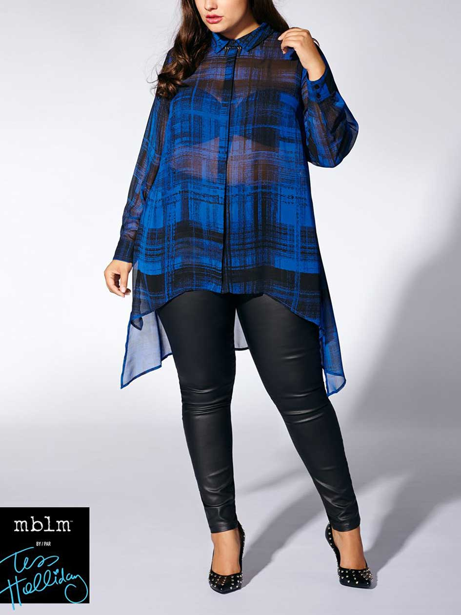 Tess Holliday - Long Sleeve Plaid Blouse