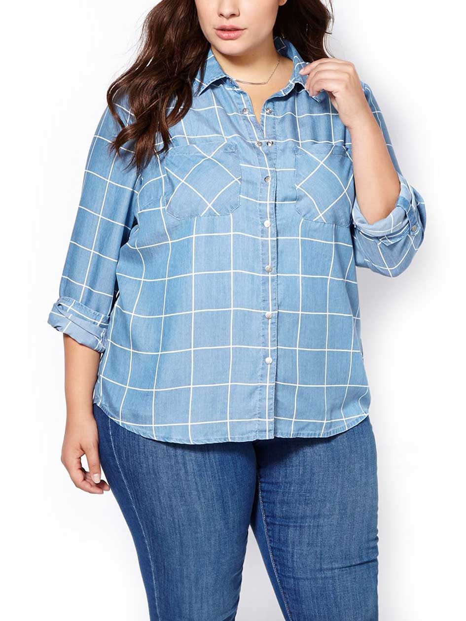 d/c JEANS Long Sleeve Checkered Shirt