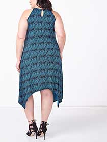 Sleeveless Printed Sharkbite Dress with Crochet