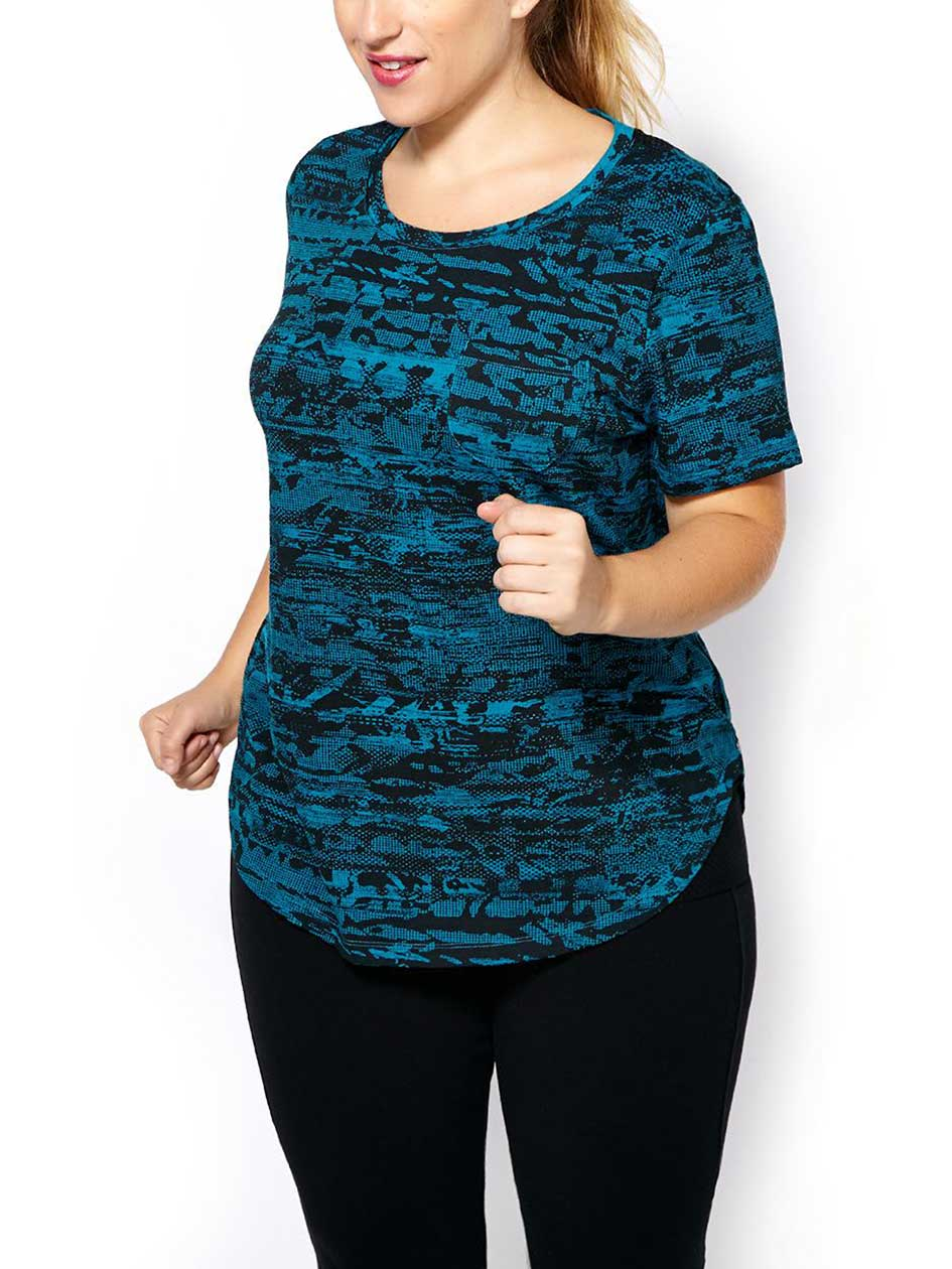 Essentials - Plus-Size Printed T-Shirt with Mesh
