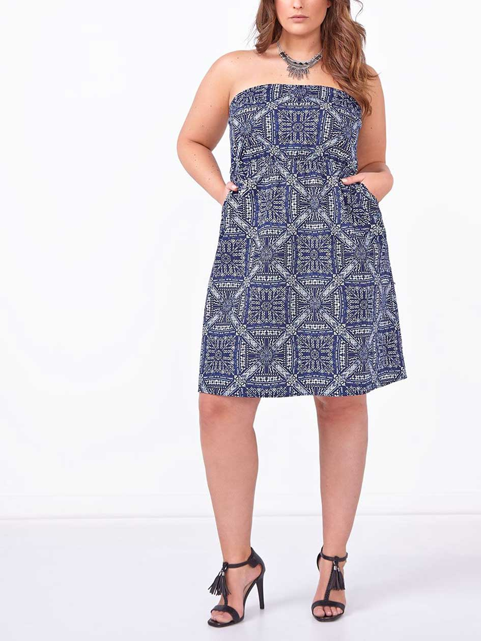 d/c JEANS Sleeveless Printed Smocked Dress