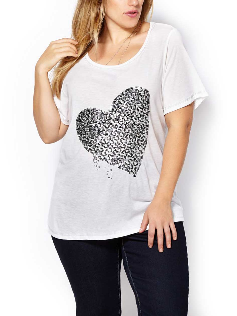 Short Sleeve Top with Sequin Heart