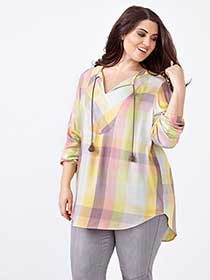 MELISSA McCARTHY Long Sleeve Plaid Popover