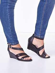 Wide-Width Multi-Strap Wedge Sandals