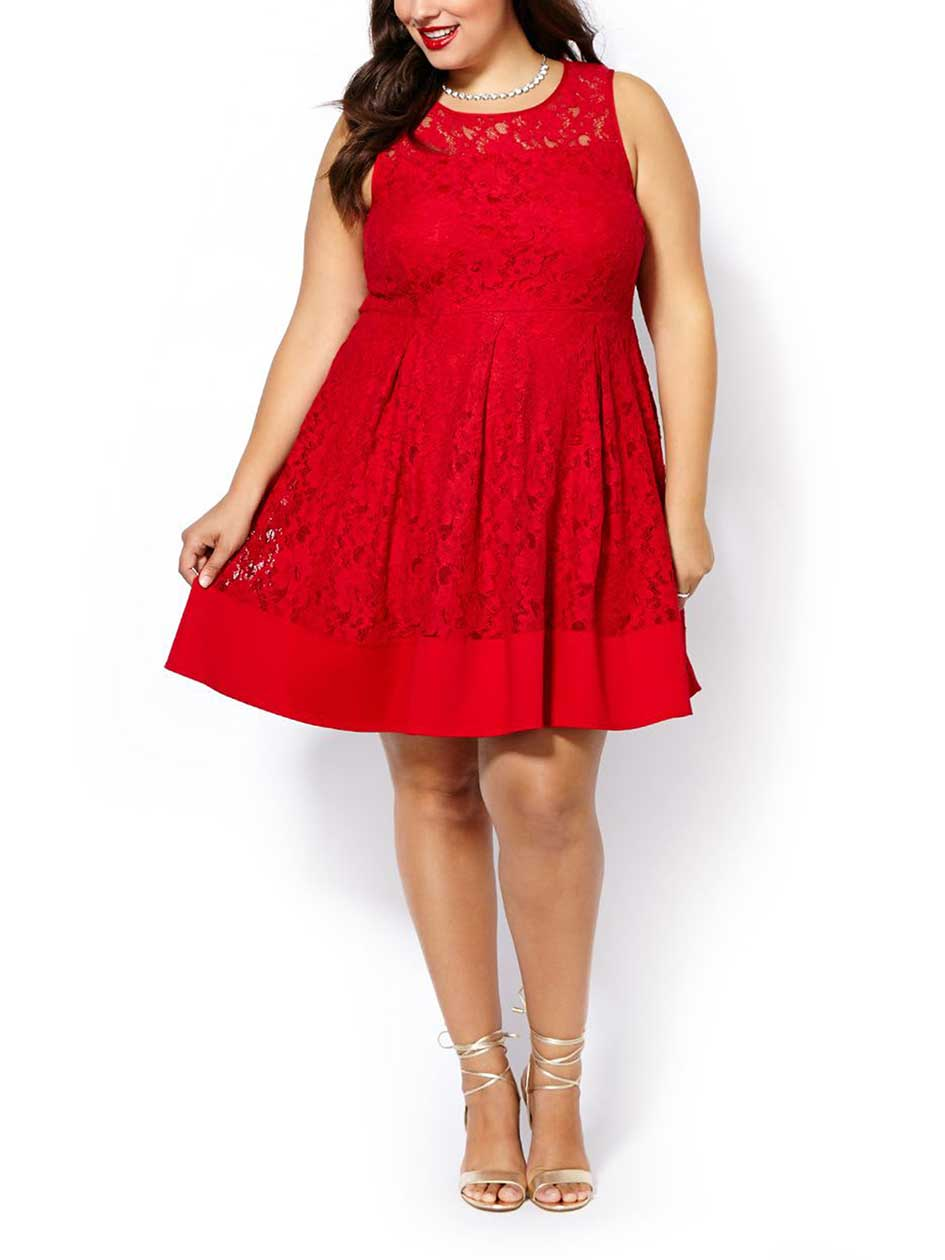 Sleeveless Fit and Flare Lace Dress