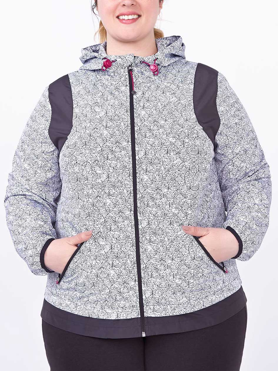 Essentials Tech - Plus-Size Printed Hooded Jacket