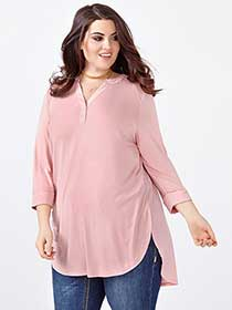 MELISSA McCARTHY 3/4 Sleeve High Low Top