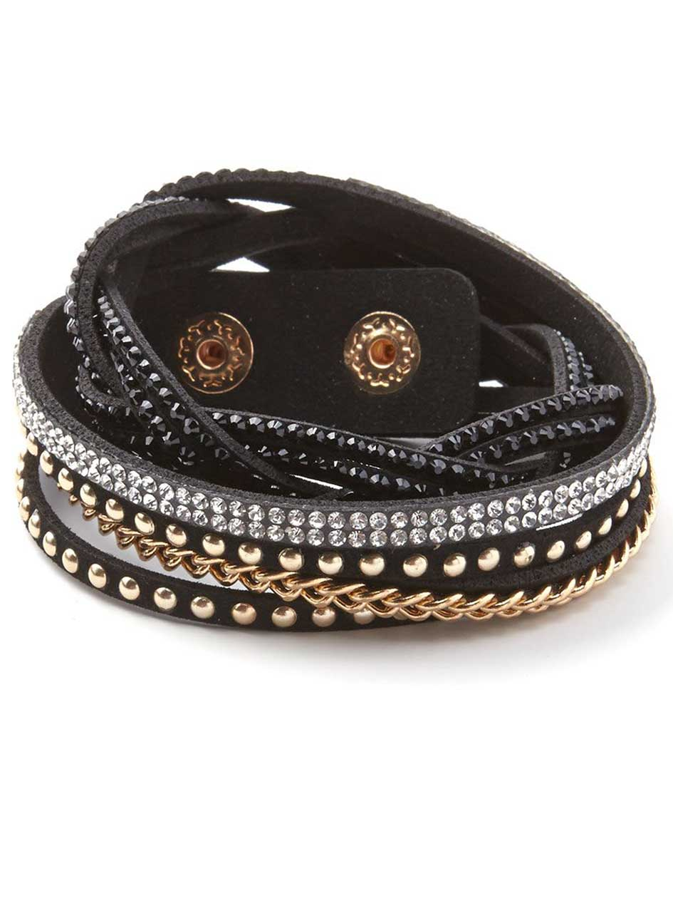 Faux-Suede Wrap Bracelet with Stones and Chains