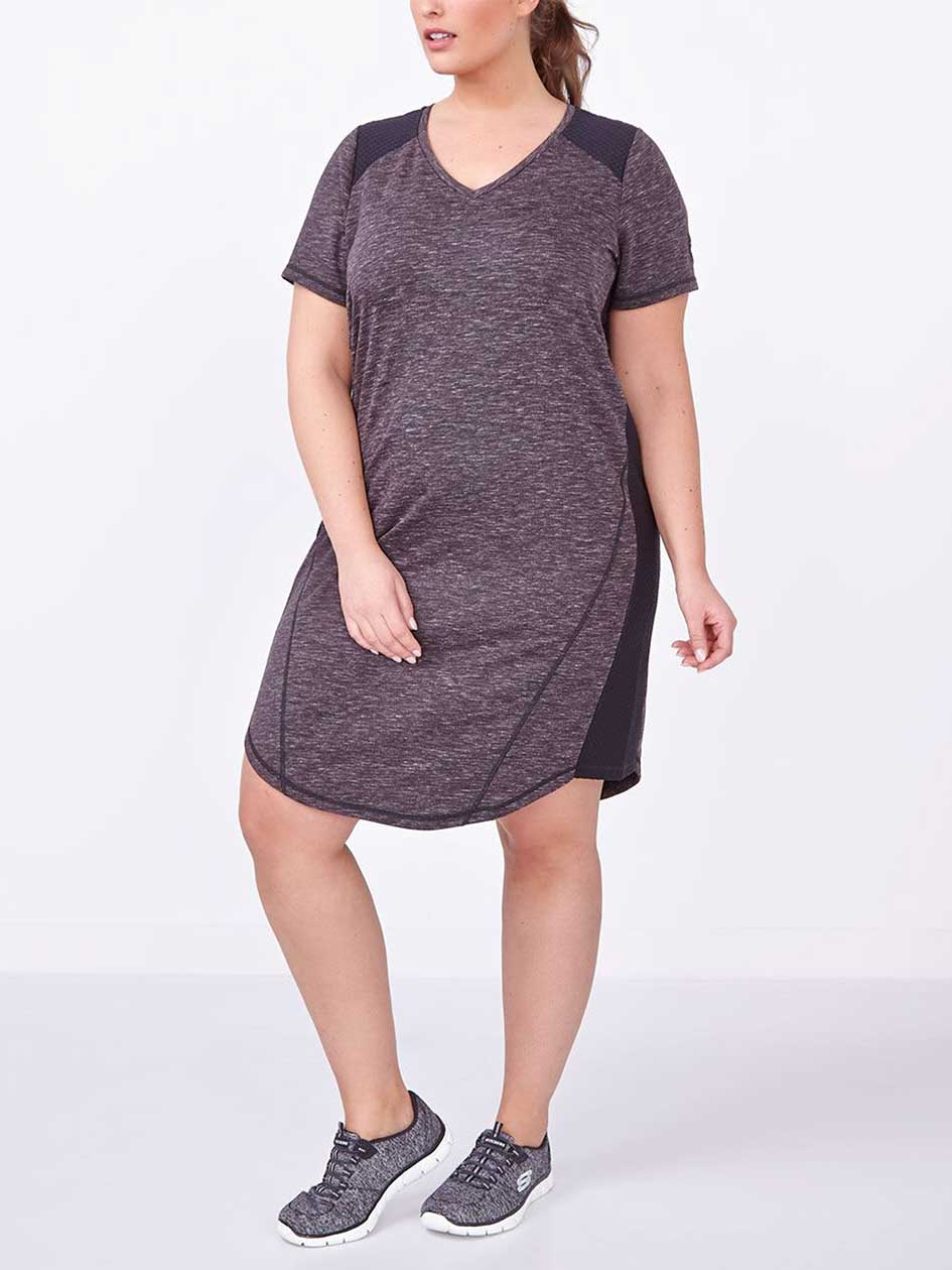 Athleisure - Plus-Size Short Sleeve Dress with Mesh