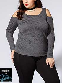 Tess Holliday - Long Sleeve Cold Shoulder Top