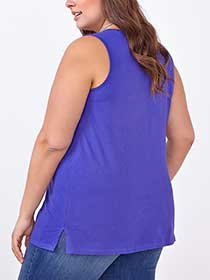 Relaxed Fit Split Neck Cotton Tank Top
