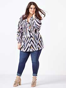MELISSA McCARTHY Long Sleeve Printed Pintuck Blouse