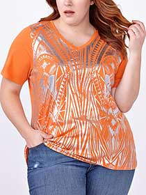 Shaped Fit Foil Print T-Shirt