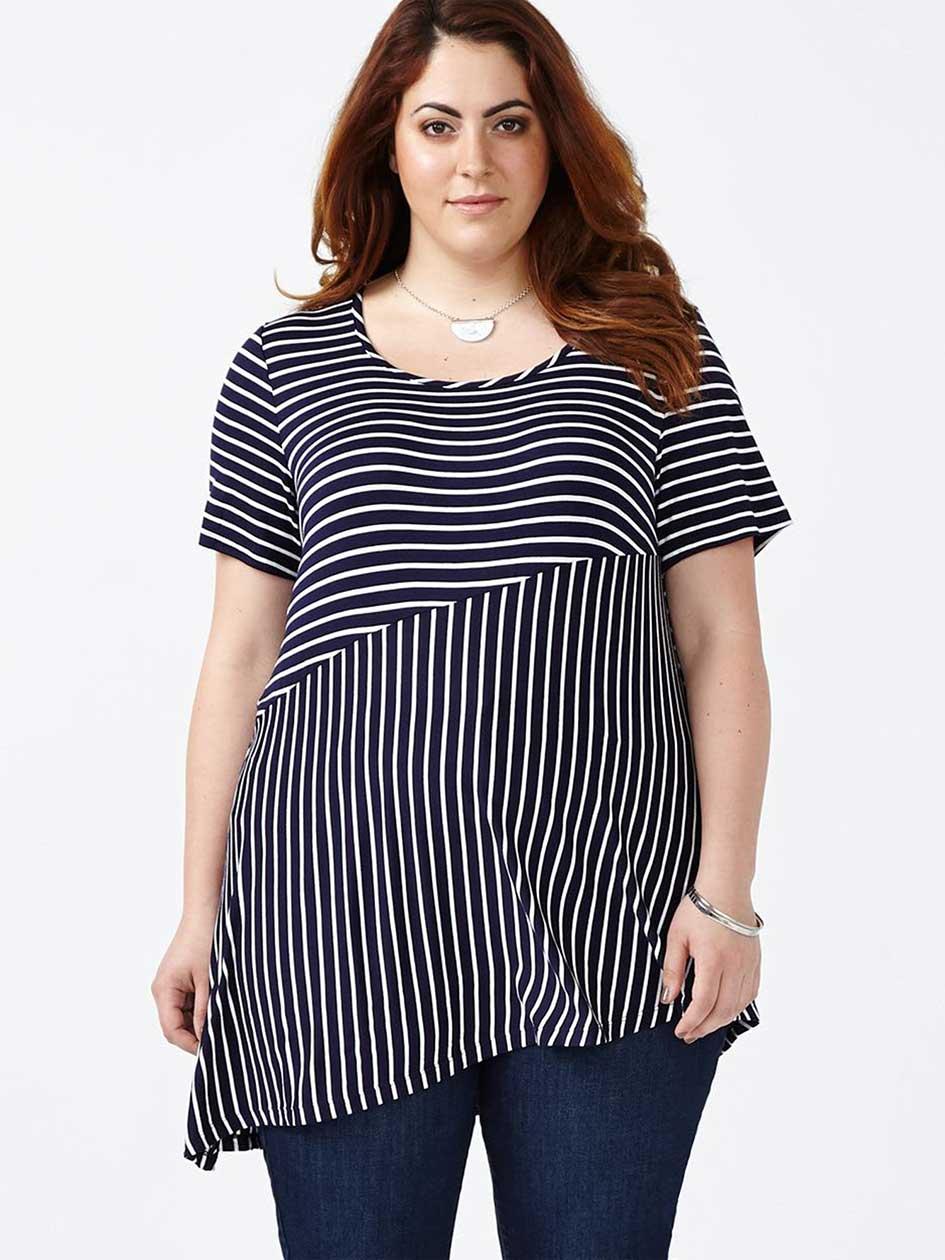 Short Sleeve Striped Asymmetric Top