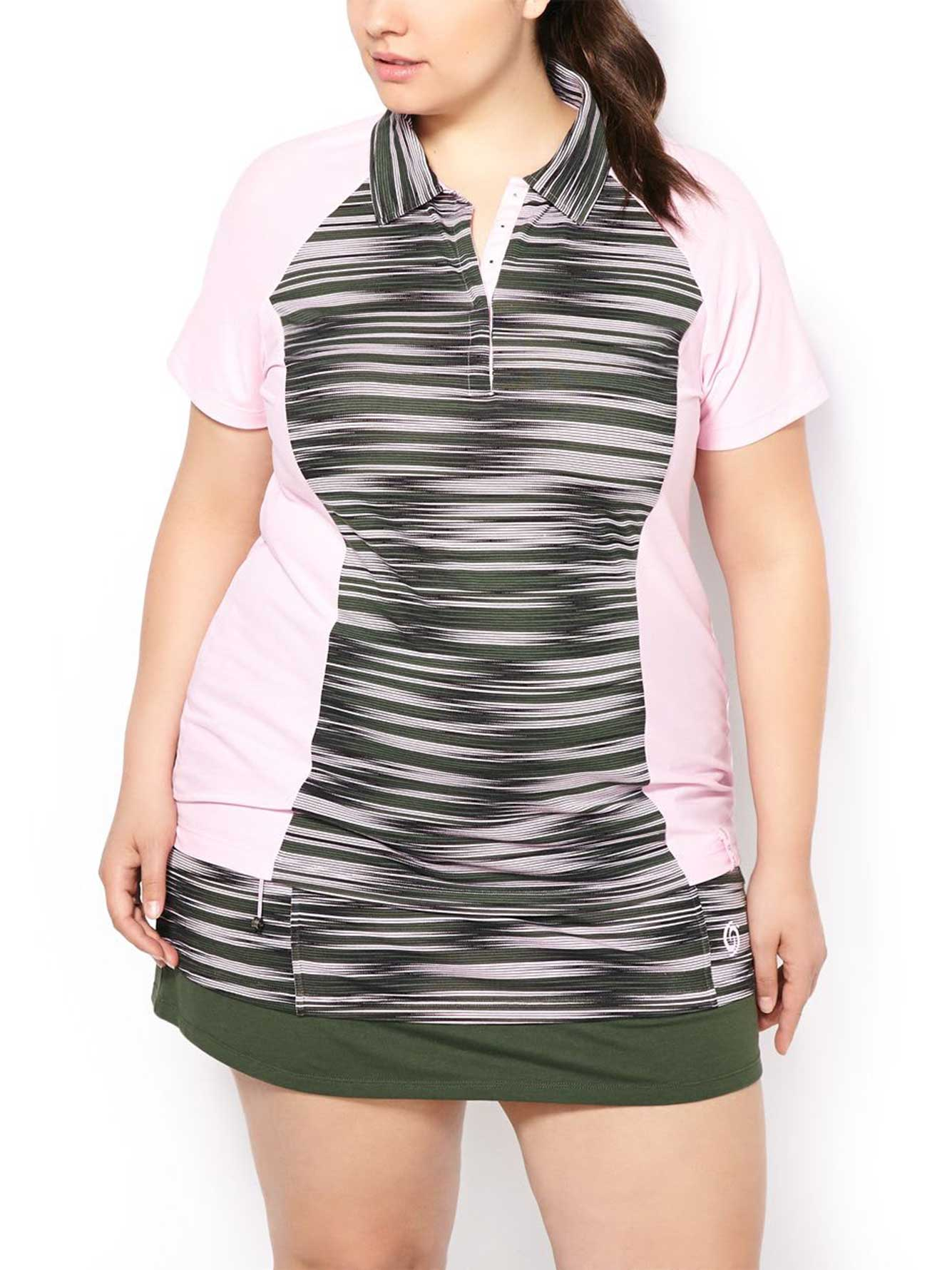 Activezone golf plus size printed polo shirt penningtons for Plus size polo shirts ladies