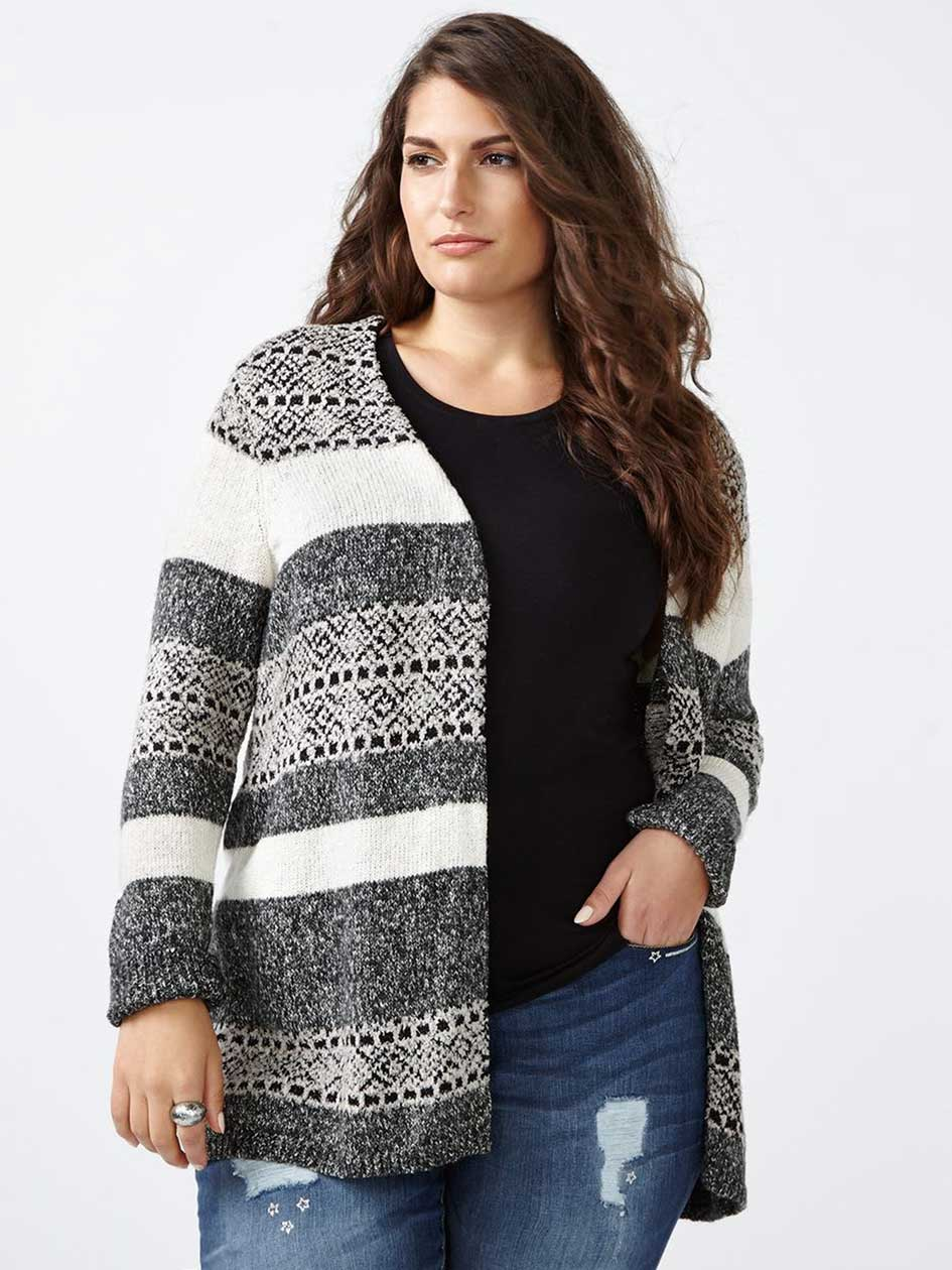 d/c JEANS Long Sleeve Patterned Cardigan