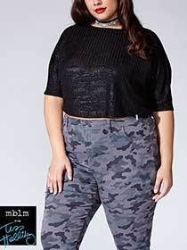 Tess Holliday - Elbow Sleeve Foil Print Crop Top