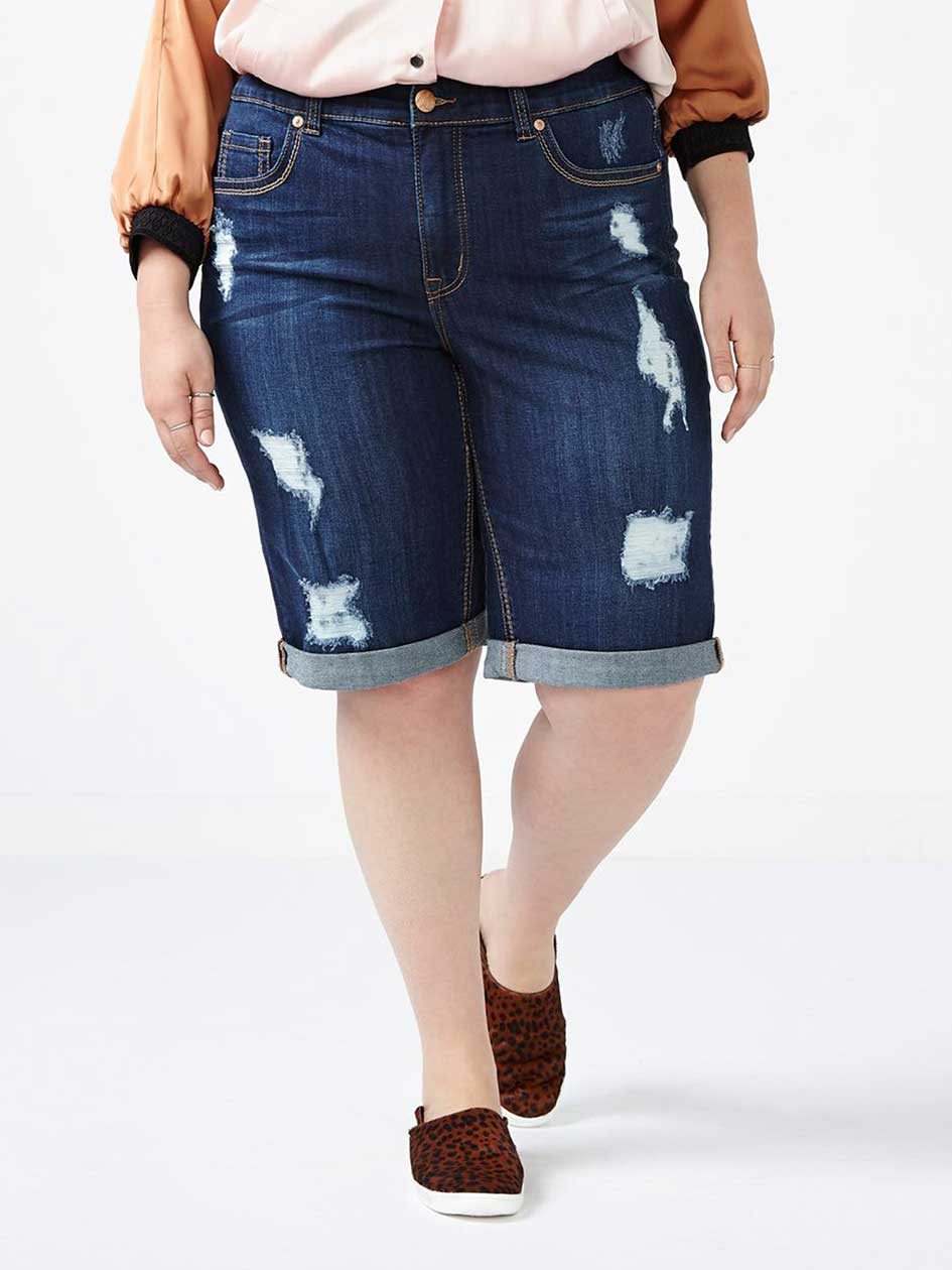 MELISSA McCARTHY Distressed Denim Bermuda Short