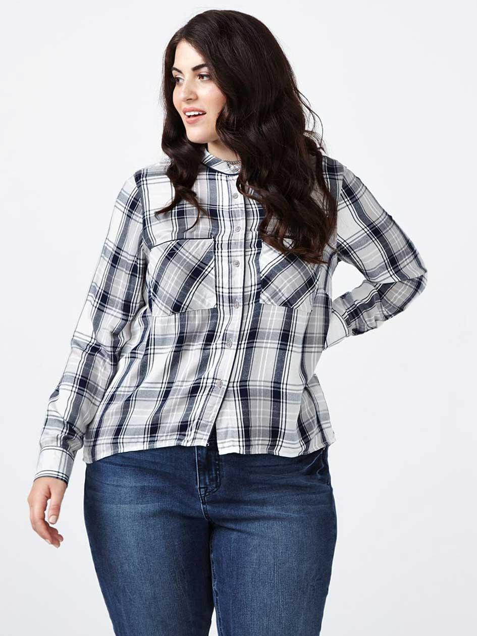 MELISSA McCARTHY Long Sleeve Plaid Shirt